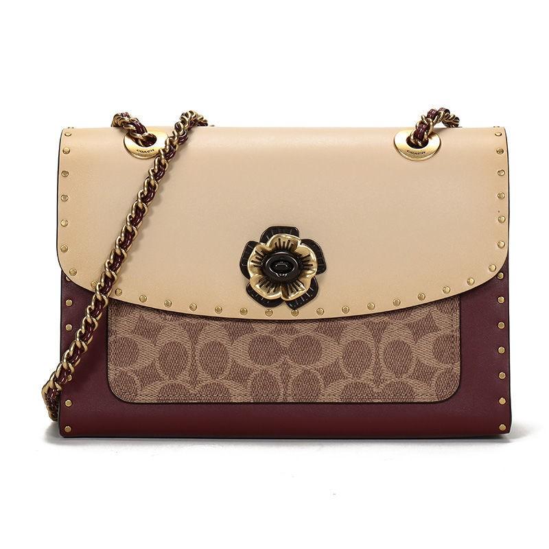 กระเป๋าสตางค์ใบสั้น㍿COACH COACH Shop ผ้าใบเคลือบด้วยกระเป๋าหนังคาเมลเลีย 967