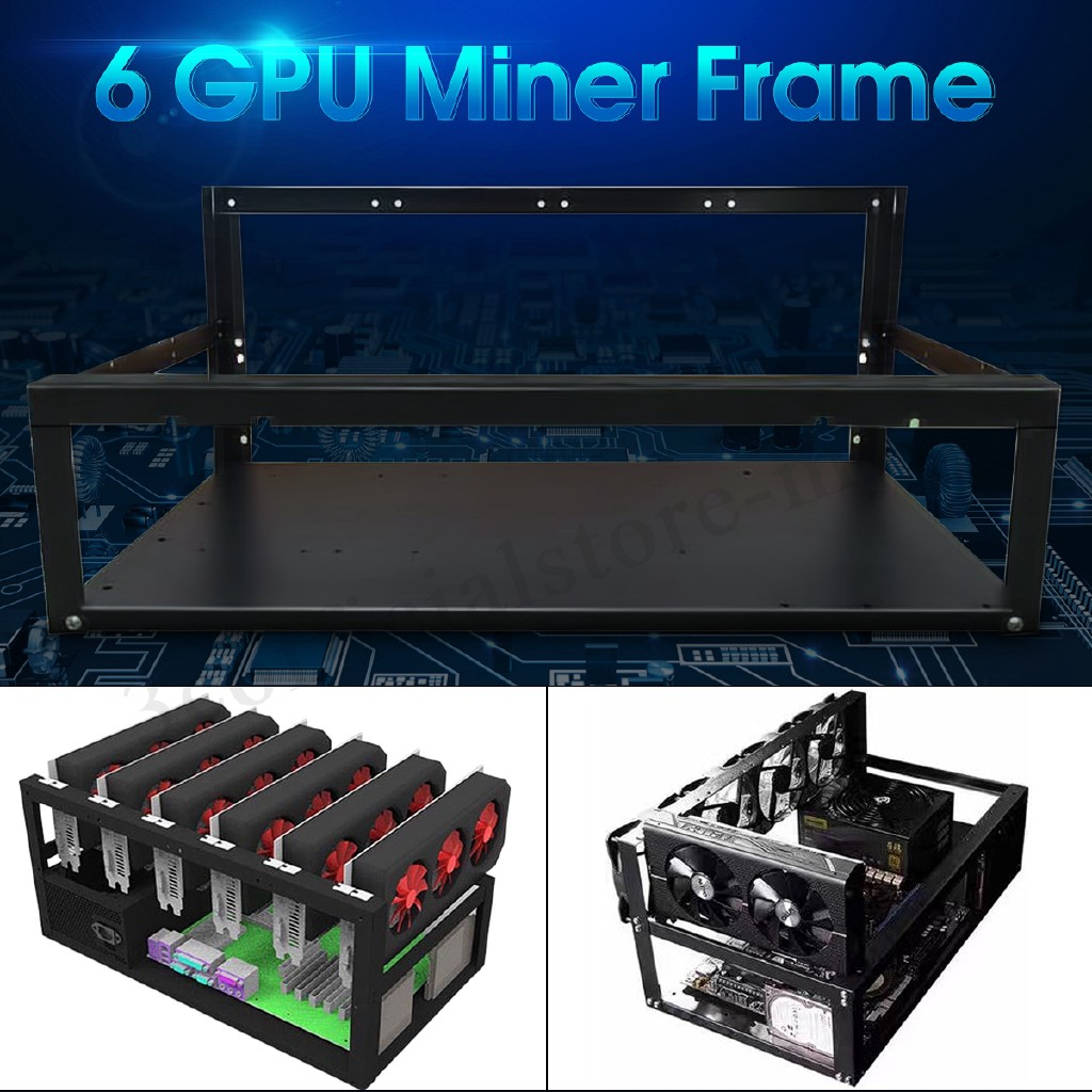 Open Air Miner Mining Frame Rig Iron Case Crypto Coin For 6 GPU ETH BTC Ethereum