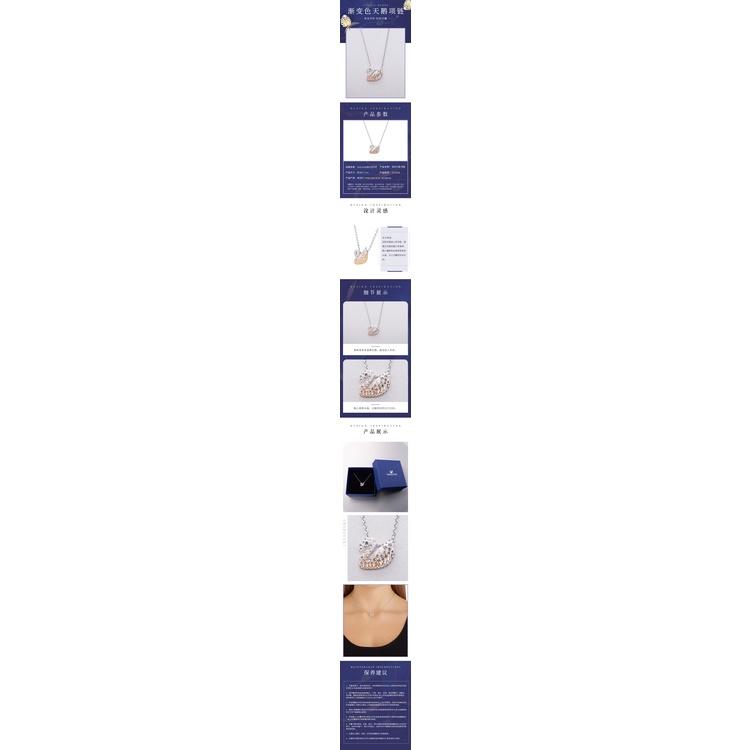 เทียมคริสตัลไหปลาร้าห่วงโซ่ขนาดเล็กสีฟ้าสวารอฟส5215038SWAROVSKI เครื่องประดับ สร้อยคอ Swanของขวัญหญิงไล่ระดับสีหงส์จี้แส