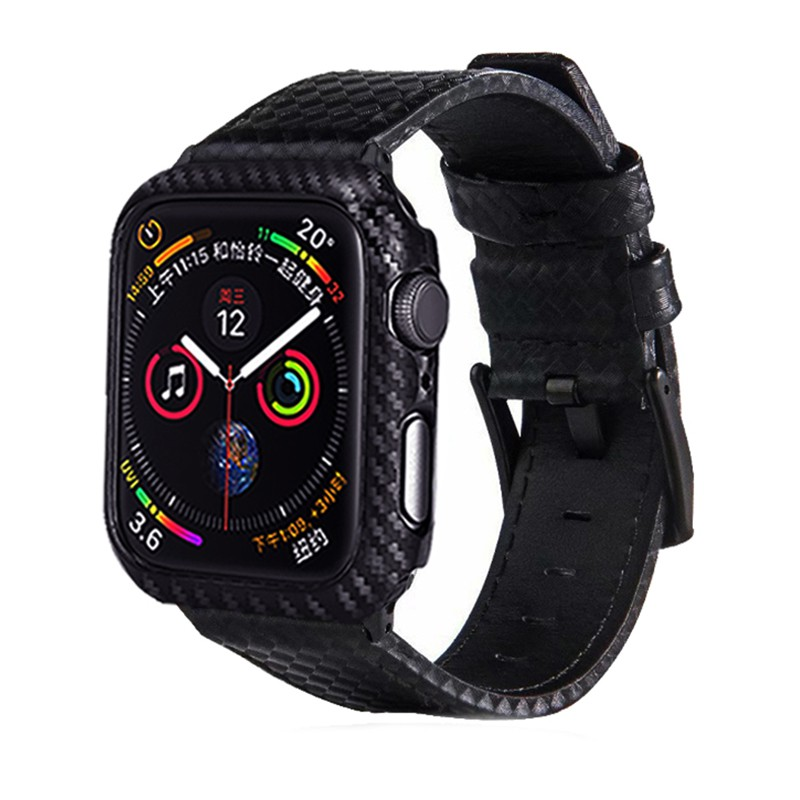 Laforuta Leather Band for Apple Watch 44mm 40mm Carbon Fiber iWatch Strap 44mm 40mm+iWatch PC Case Watchband for Series