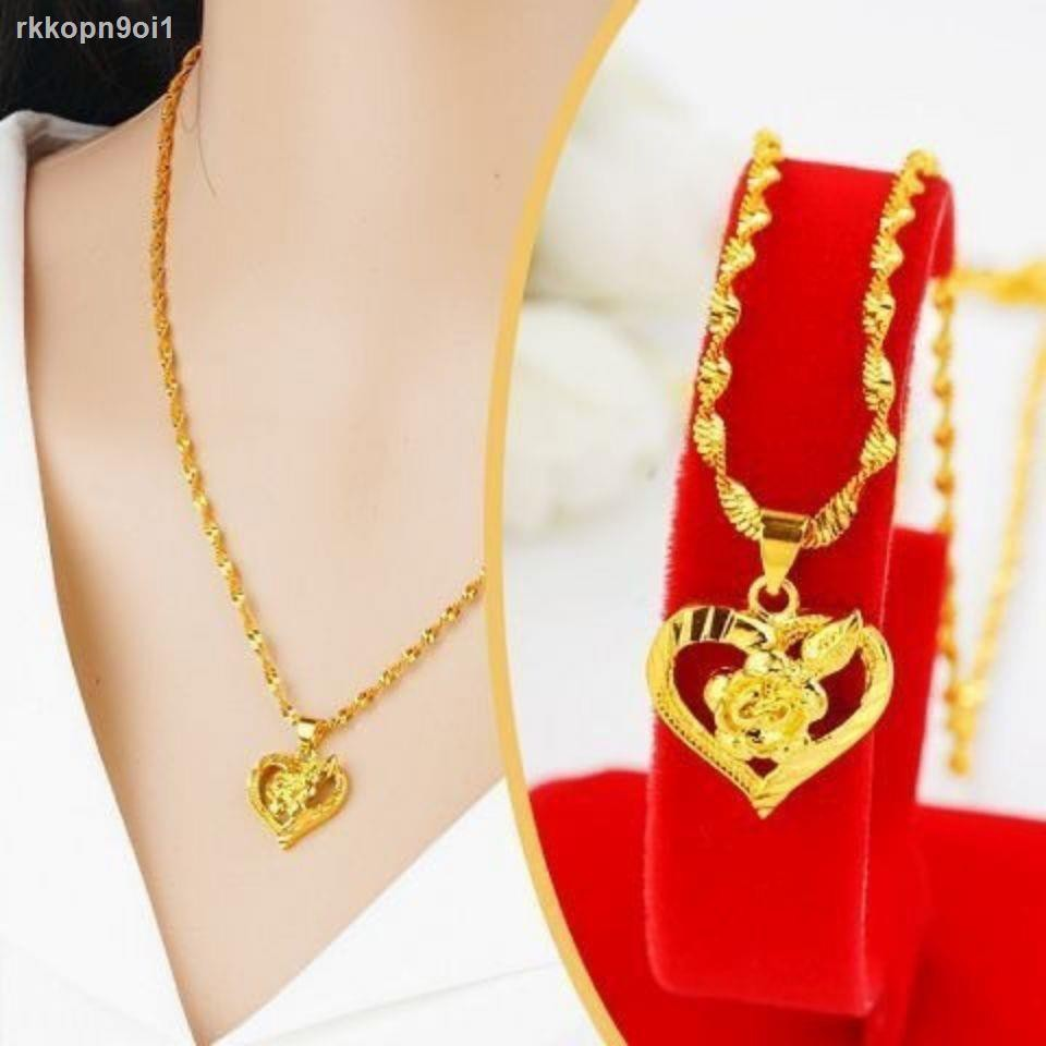 ราคาถูก ﹊ฮ่องกงของแท้ดิวตี้ฟรีสร้อยคอทองคำบริสุทธิ์สร้อยคอทองคำ Jurchen จี้แฟชั่นหญิงสำหรับแม่และภรรยา