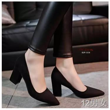 ☏คัชชูหัวแหลมส้นสูงผู้หญิง รองเท้าส้นสูงแฟชั่นขายดี รองเท้าคัชชูส้นสูง 3 นิ้ว สีเทา / สีดำ สีแดง  F077