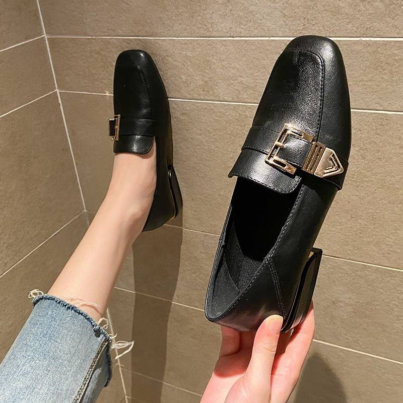 ร้องเท้า รองเท้าผู้หญิง รองเท้าคัชชู ▲หนังรองเท้าผู้หญิงรองเท้าหนังนิ่มหญิง 2021 ฤดูใบไม้ผลิ Yinglan ลมสีดำรองเท้าแบนรอง