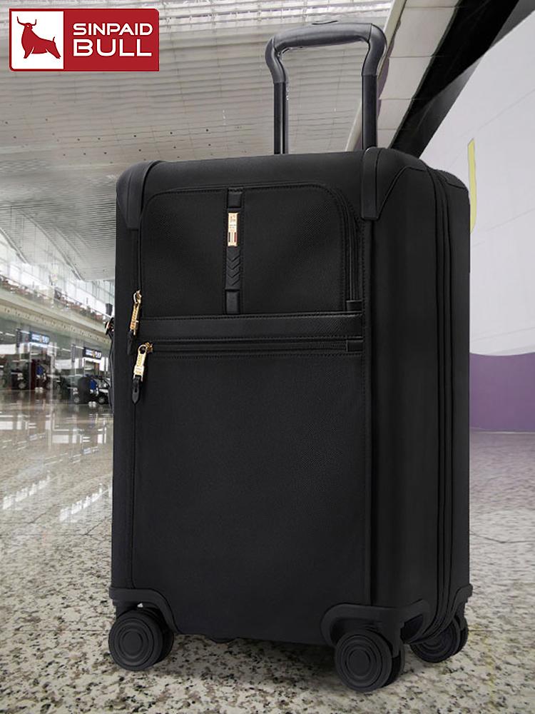 กระเป๋าเดินทางของผู้ชาย20-นิ้ว24นิ้วล็อคลายนิ้วมือความจุขนาดใหญ่มัลติฟังก์ชั่กระเป๋าเดินทางหนังล้อสากลขยายกรณีรถเข็น