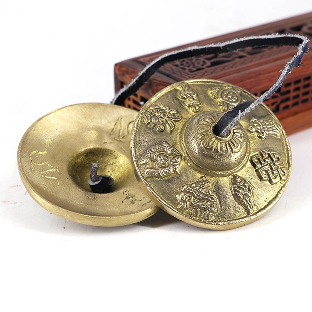 Sports & Entertainment Tingsha Bell Buddhist Finger Cymbals Exquisite Embossed Of Luck Tibetan Pure And Resonant Meditation Musical Instruments