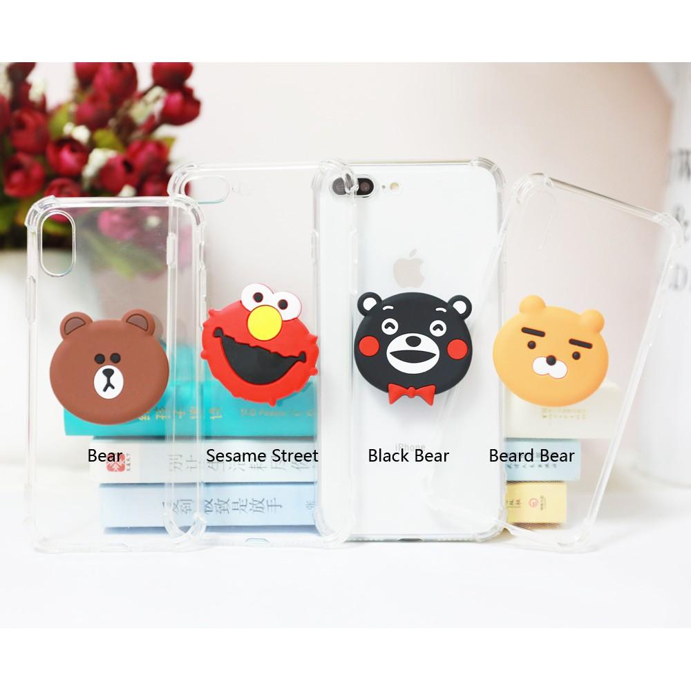 Samsung Galaxy A6 A8 Plus A6S A7 A9 A9S 2018 A3 A5 A7 2017 C9 Pro Phone Case Stand Bracket Cartoon Soft Back Cover cM7M