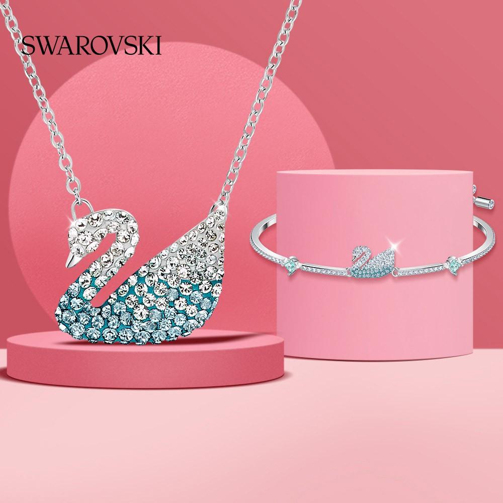 Swarovskiสีฟ้าหงส์Swarovski Iconic Swan หญิง สร้อยคอ+ชุดสร้อยข้อมือทานาบาตะ t1PT