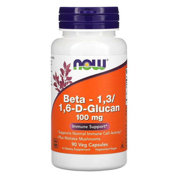Now Foods, Beta-1,3/1,6-D-Glucan, 100 mg, 90 Veg Capsules   พร้อมส่ง   หมดอายู01/2023