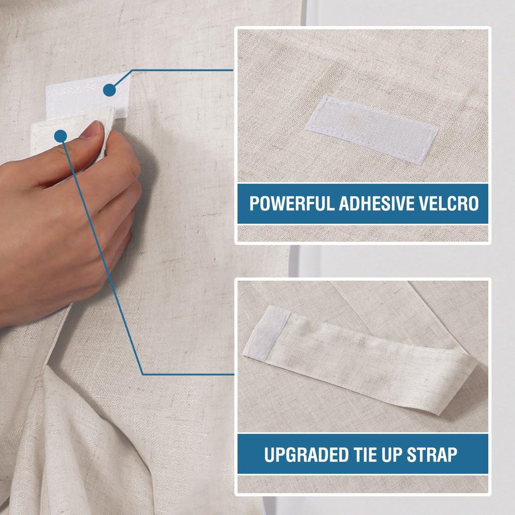 จุดผ้าลินินผสมคุณภาพสูงประตูฝรั่งเศสผ้าม่านเจาะฟรี Velcro ผ้าม่านผ้าม่านสำเร็จรูป