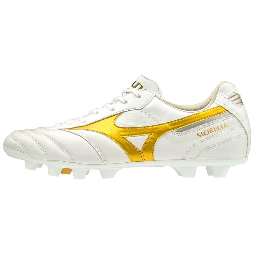 ⚽ รองเท้าสตั๊ด (Football Cleats) ยี่ห้อ Mizuno (มิซูโน) รุ่น Morelia II Elite สีขาว/ทอง รหัส P1GA200350