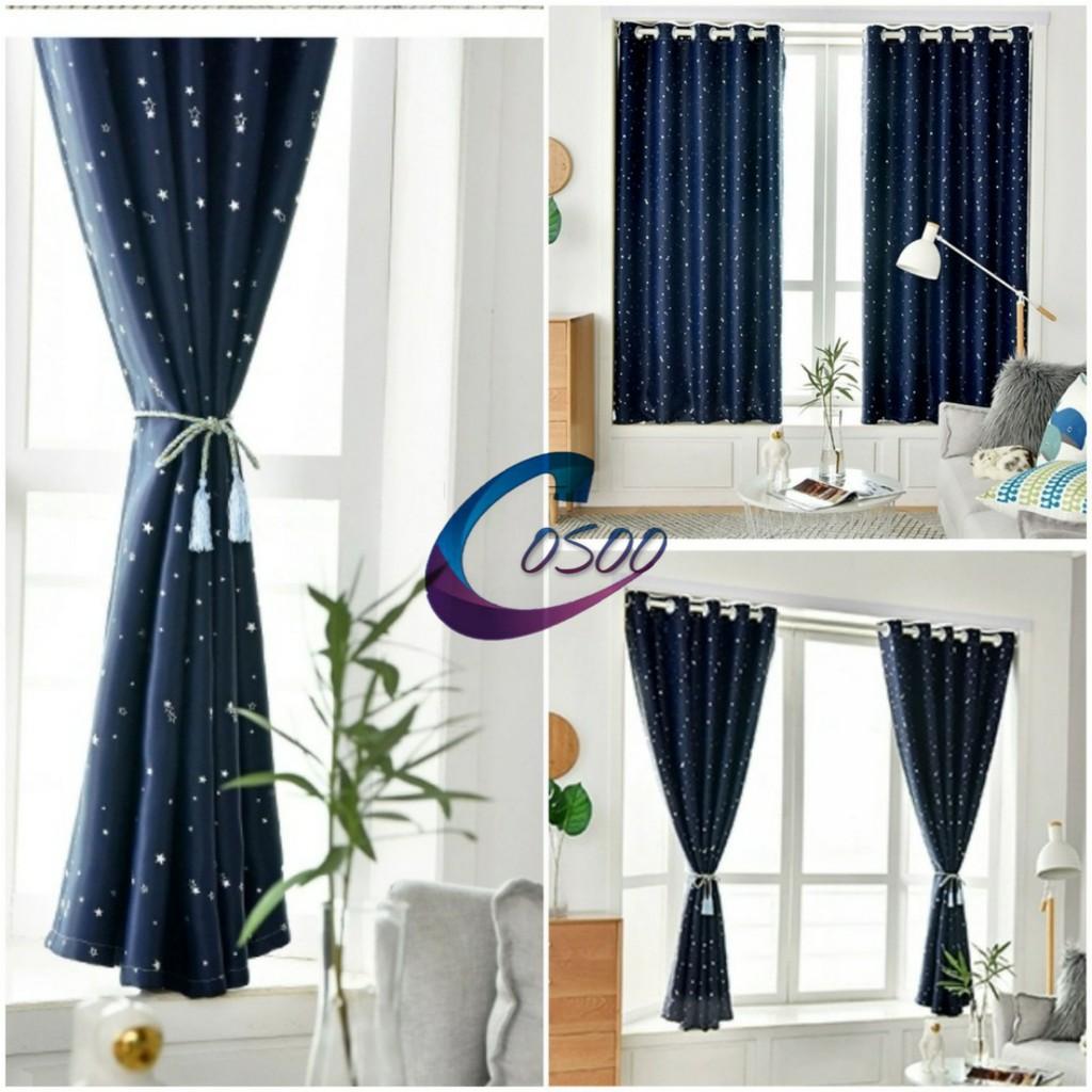 ผ้าม่านประตู ผ้าม่านหน้าต่าง สำเร็จรูป ผ้าม่านกั้นห้อง กันแสงกันยูวี ตาไก่  รูปดาว