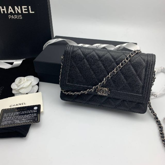 Chanel Boy WOC Caviar Leather Silver HW