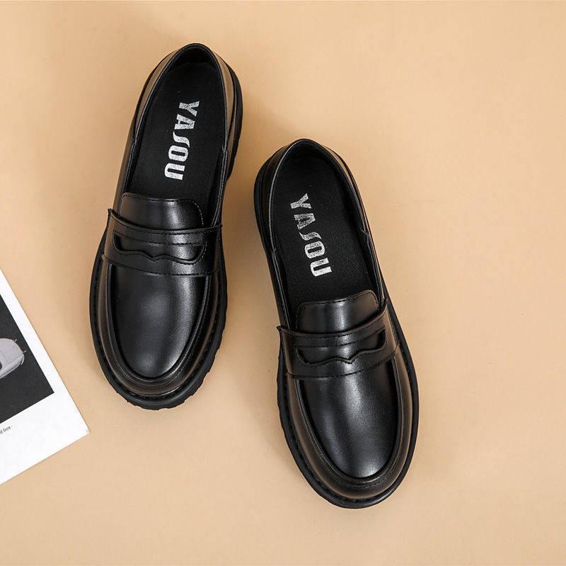 รองเท้าคัชชู รองเท้าผู้หญิง ♒รองเท้าเดียวหญิง 2020 ฤดูใบไม้ร่วงใหม่อังกฤษลมเท้า乐福鞋平底 jk รองเท้าทำงานด้านล่างสุดนุ่มสีดำ◎