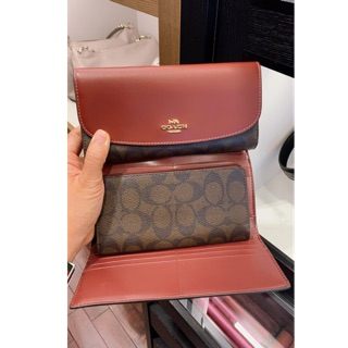 Coach Signature Leather Trim Checkbook Wallet F57319