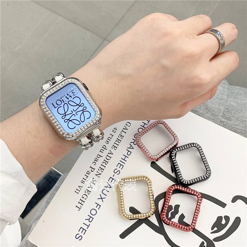Apple Watch Protective Case for  iwatch 1/2/3/4/5/6 Diamond Case Electroplating Protective Case Anti-fall Case Full Covering Hard Case 38mm 40 42 44mm