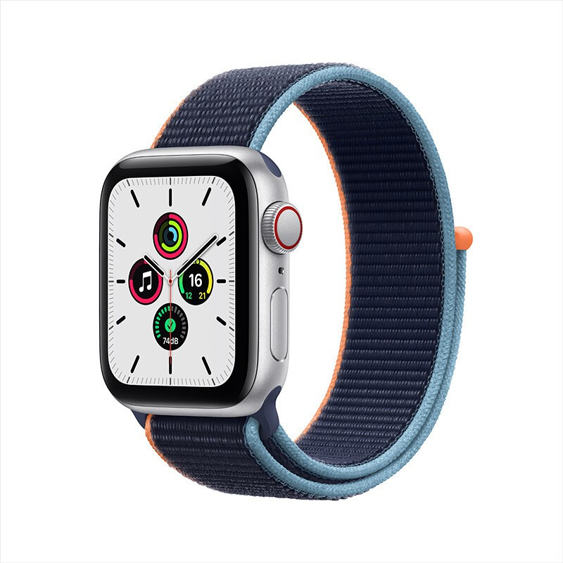 Apple Watch SE Smart Watch GPS+Honeycomb 40mm Silver Aluminum Metal Case Deep Navy Blue Loop StrapMYEG2CH/A