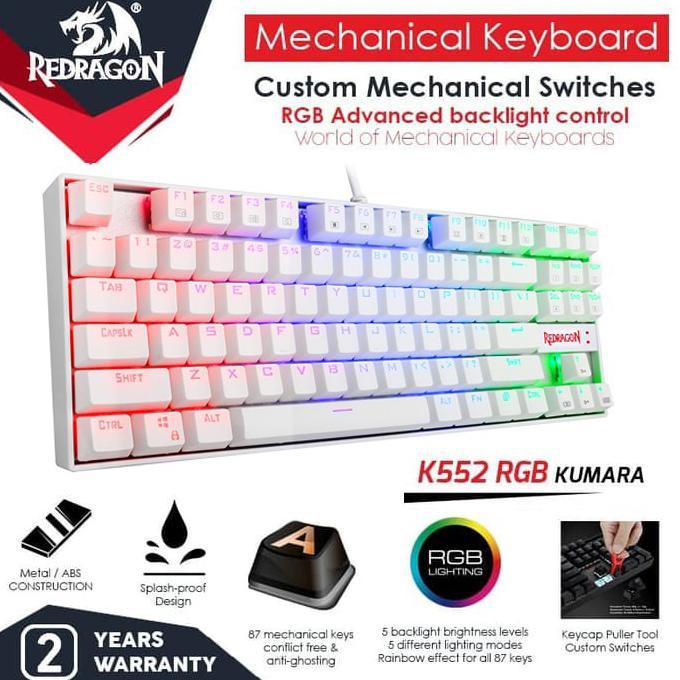 Redragon K552Rgb-1 Kumara Rgb คีย์บอร์ดเล่นเกม - สีขาว