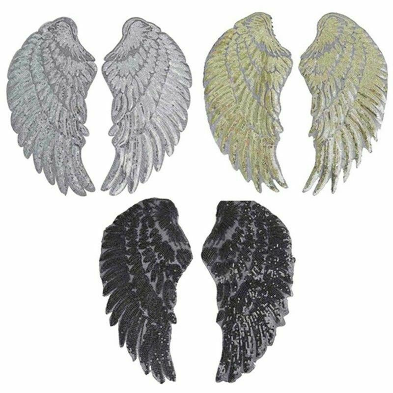 1Pair Embroidered Iron on Patches for Clothes Design Sequin Beaded Angel Wing