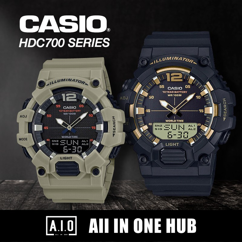 *100% Authentic* Casio Analog-Digital Combination Watch HDC700 Series. Includes 1 Year Warranty.