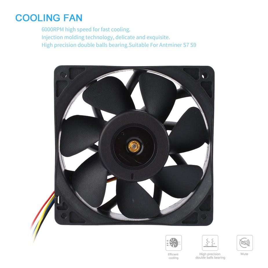 TMR★7500RPM DC12V 5 0A Brushless Miner Cooling Fan For Antminer Bitmain S7  S9