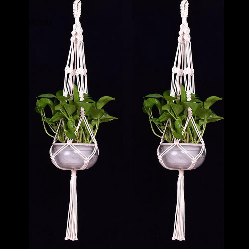 YAK_Tassel Purely Hand Knitting Garden Decor Flower Pot Plant Hanging Hemp  Rope