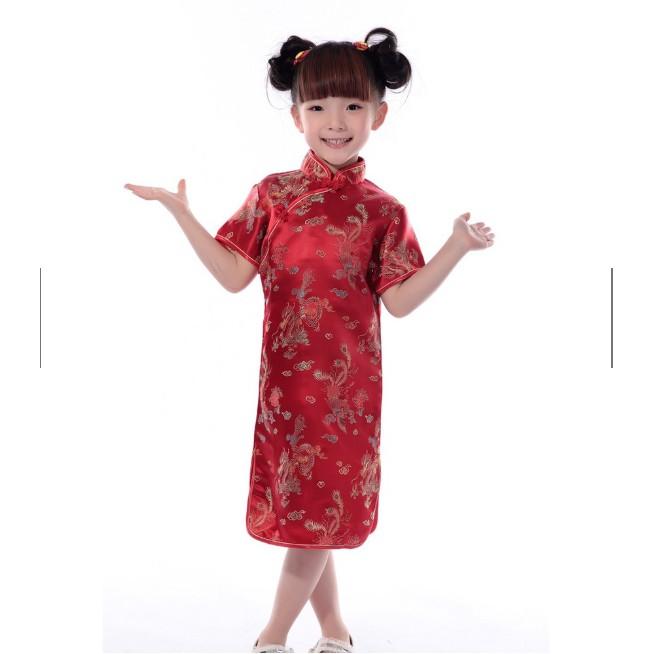 พร้อมส่ง️ชุดกี่เพ้าเด็ก  มีแบบใส่คู่แม่ลูก มีลายมังกร ลายดอกเหมย ชุดจีนเด็ก ชุดตรุษจีนเด็ก