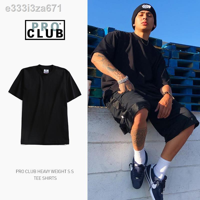 ❤ลดราคา❤✁❆PROCLUB American trendy brand hiphop hip-hop loose large size solid color base heavy short-sleeved t-shirt me