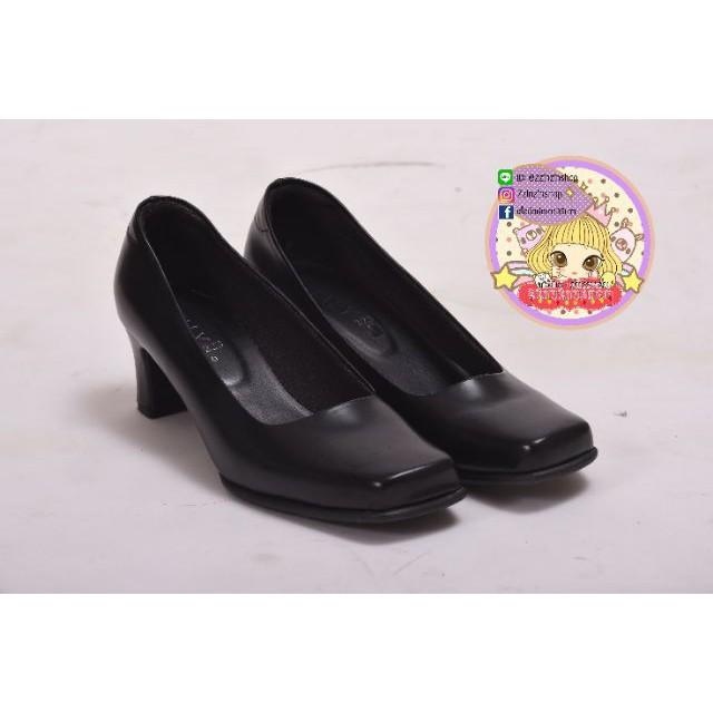 รองเท้าเสริมส้น รองเท้าส้นสูงไซส์ใหญ่ รองเท้ามีส้น รองเท้าส้นแก้ว รองเท้าคัชชูหญิง  ความสูง 2 นิ้ว สีดำ รหัส 225