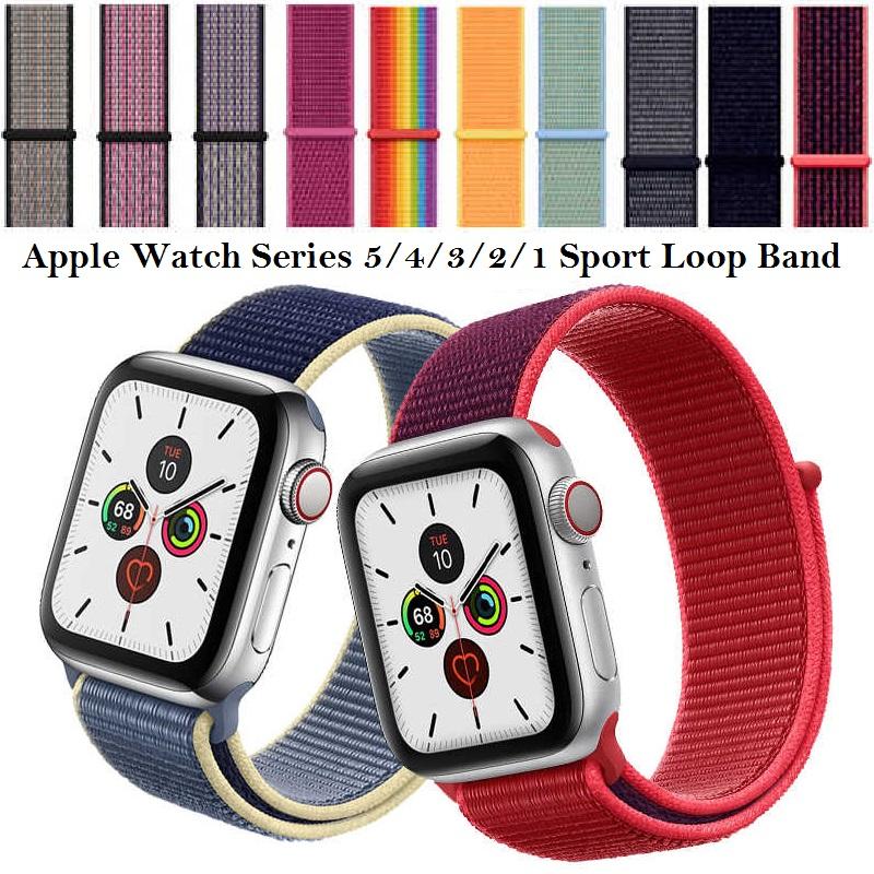 สายแบบ Sport Loop เข้ากันได้กับ Apple Watch Series 5/4/3/2/1 38 มม. 40 มม. 42 มม. 44 มม. สำหรับสาย Nike IWatch ไนล่อนนุ่มระบายอากาศ
