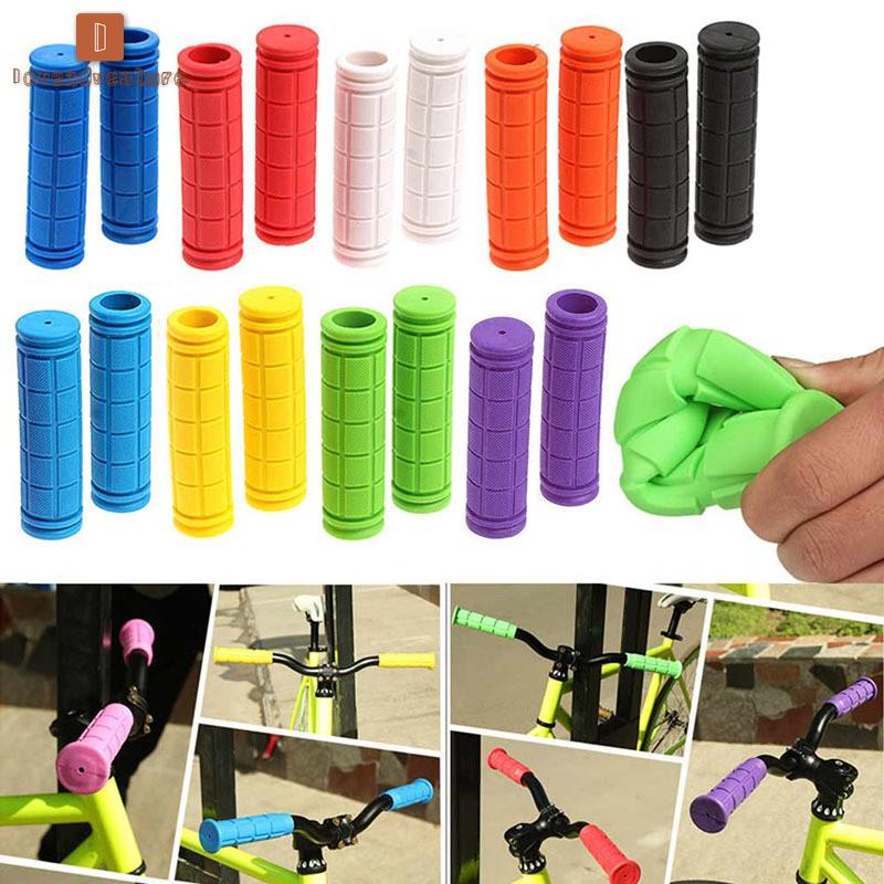 1 Pair Bicycle Handlebar Grips Soft Rubber Cycling Mountain Bike Anti-slip Grips