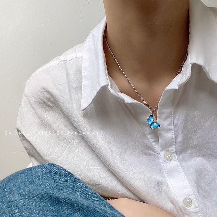 (C-002) สร้อยคอรูปผีเสื้อ เครื่องประดับสร้อยคอ โซ่จี้ผีเสื้อคลาสสิกสีฟ้าสีน้ำเงิน สไตล์เกาหลี สร้อย เครื่องประดับคู่รัก