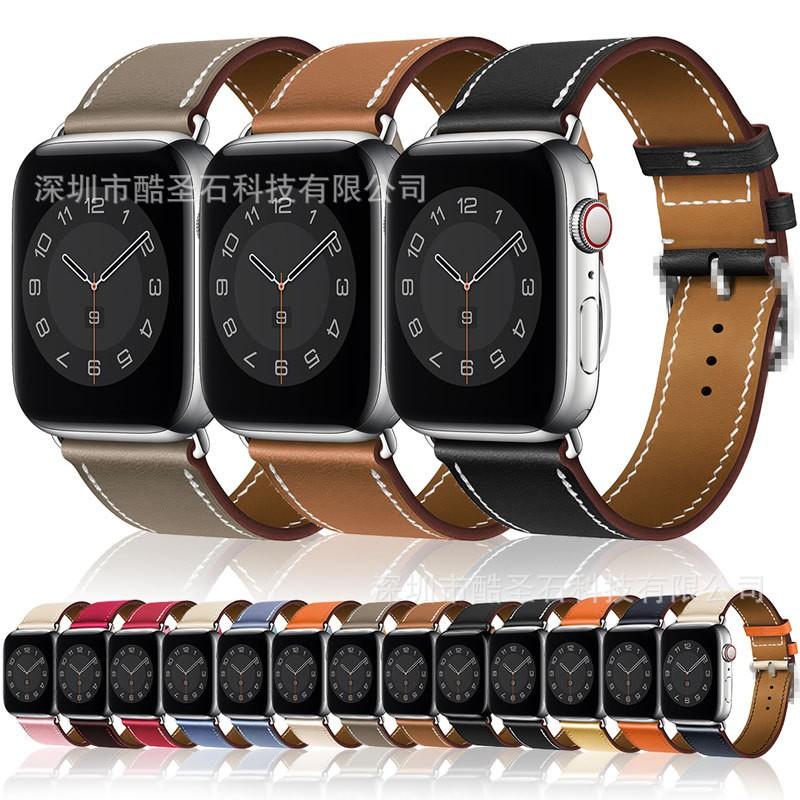 HERMES สายนาฬิกาข้อมือหนังสําหรับ Apple Watch