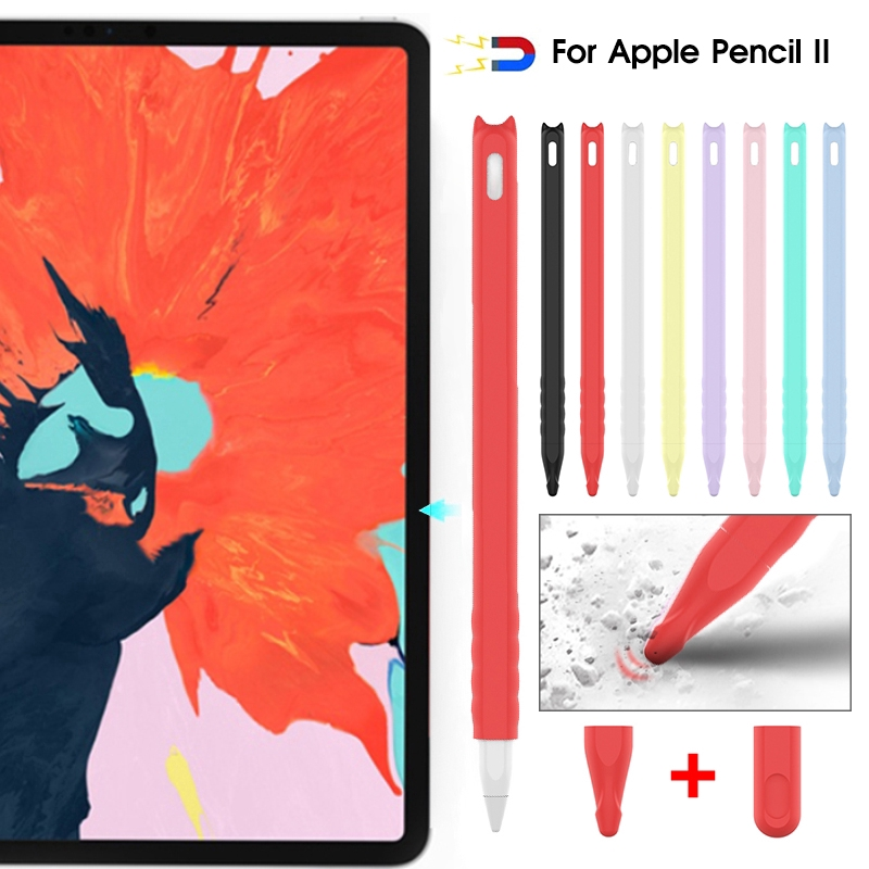 Cartoon Case Pencil Grip Holder Silicone Sleeve For Apple Pencil 2 Stylus Touch Pen Protective Cover