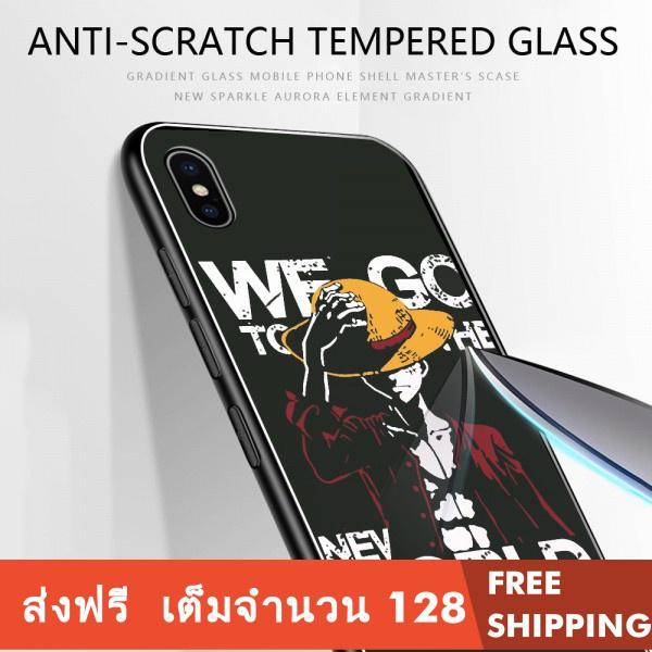 Samsung เคสโทรศัพท์กระจก A6 Plus A8 A80 A730 A9 A9S Pro 2019 A8S 2018 อะนิเมะการ์ตูน Luffy กล้องล้อมรอบ Anti-drop Case กรณีกันน้ำเคสป้องกัน