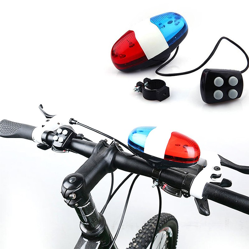 Bike Bicycle Cycling 4 Sounds LED Police Car Siren Electric Light Horn Bell BP