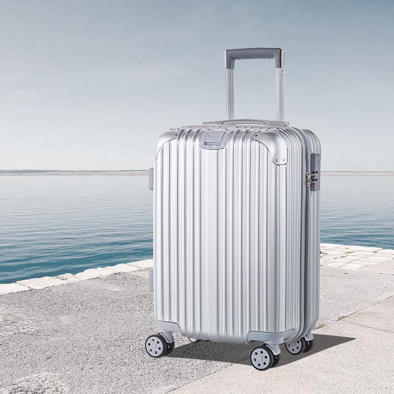 ทรายสีดำรถเข็นล้อ20กระเป๋าน้ำหนักเบาสำหรับผู้ชายและผู้หญิง24กระเป๋าเดินทางซิปนิ้ว