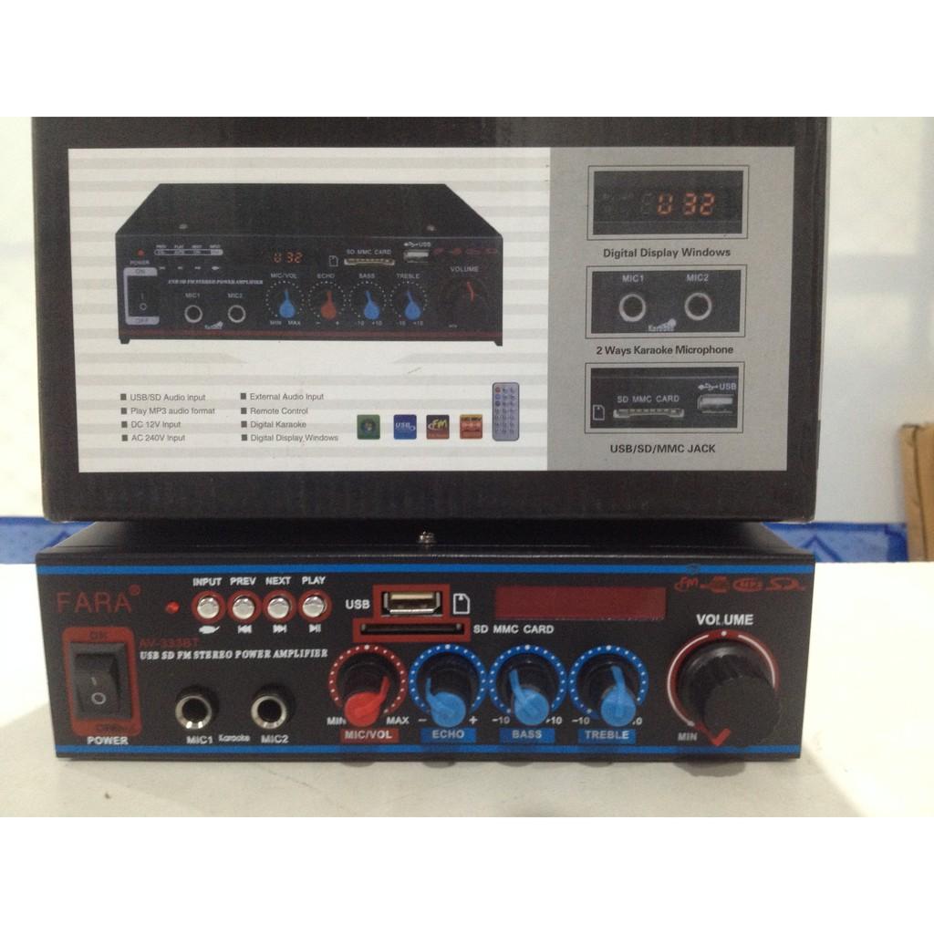 เครื่องขยายเสียง Power Integrated Amplifier FARA AV-333 stereo Karaoke Amplifier USB SD card FM Radio 2 Mic input
