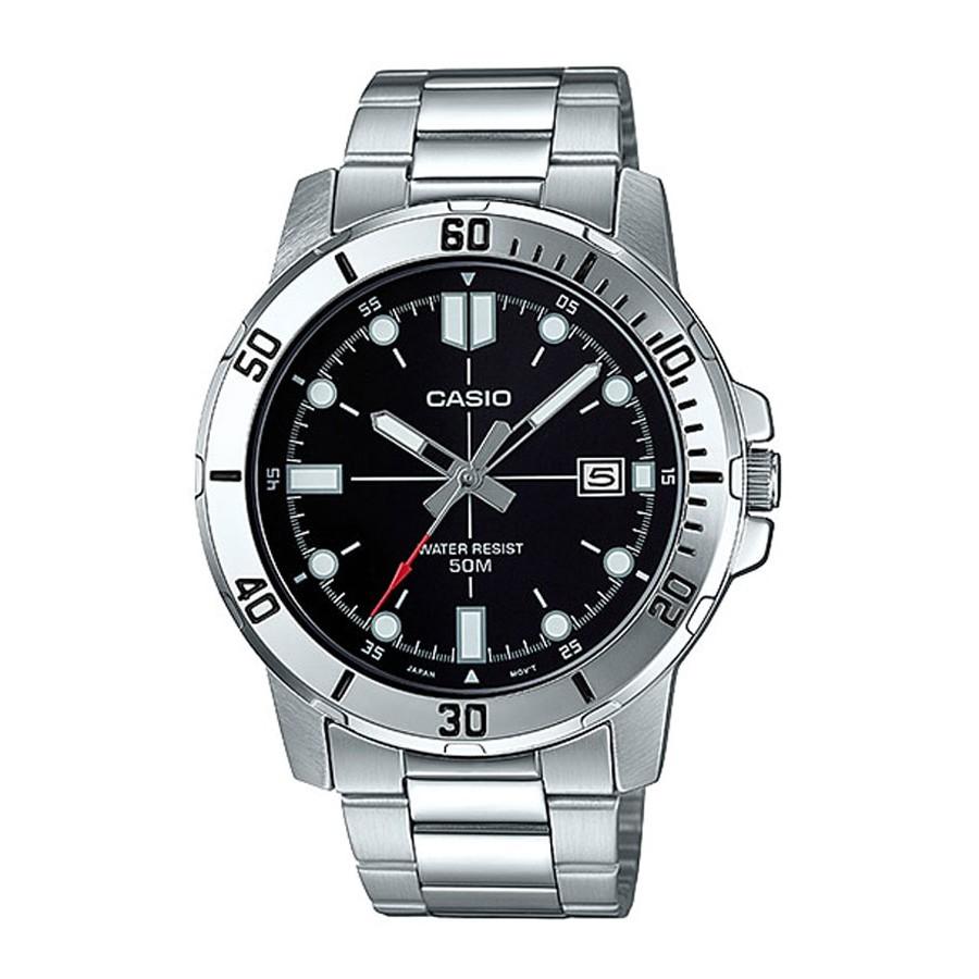 Casio Standard นาฬิกาข้อมือผู้ชาย สายสแตนเลส รุ่น MTP-VD01,MTP-VD01D,MTP-VD01D-1E,MTP-VD01D-1EV - สีเงิน
