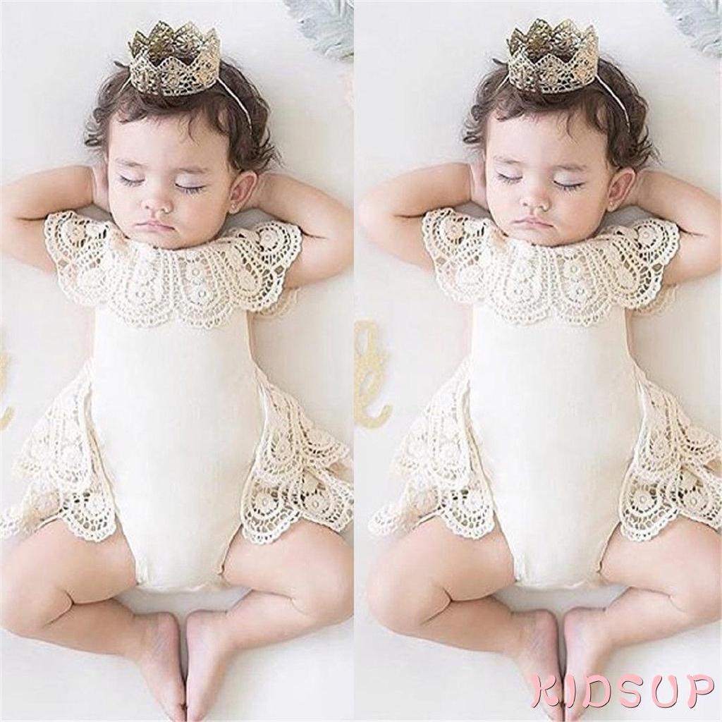 ชุดบอดี้สูทจัมพ์สูทสำหรับเด็กทารกผู้หญิงปักลายลูกไม้ดอกไม้ CRoP