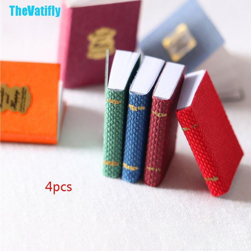 TheVatifly 4pcs/set 1/12 Dollhouse Miniature Mini Books Model Furniture Accessories 2021