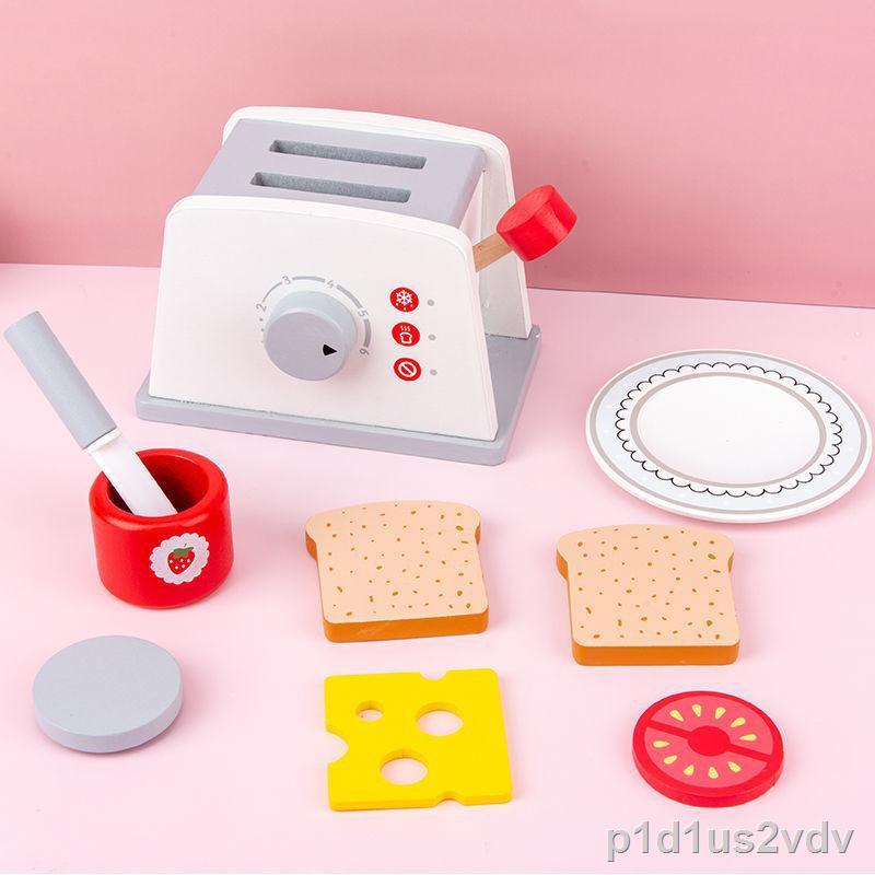 ของขวัญ♦เด็กเล่นบ้านไม้เตาอบไมโครเวฟเครื่องทำขนมปังเครื่องชงกาแฟชุดเด็กจำลองครัวตัดของเล่น