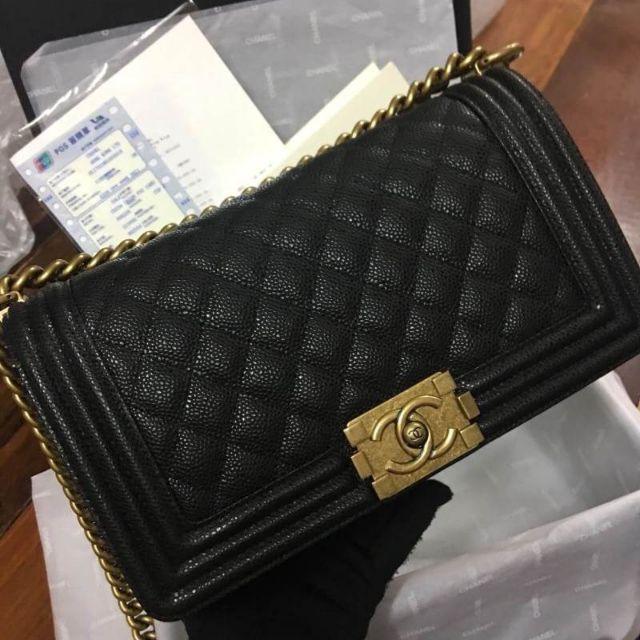 Chanel Boy caviar skin