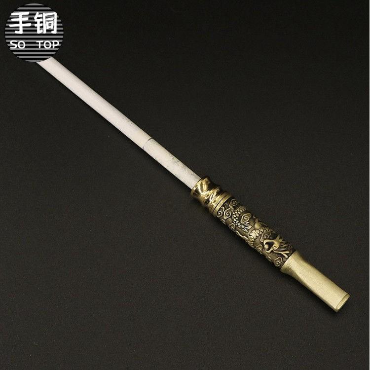 กรองที่ใส่บุหรี่ↂ♙Hand Copper Pure Handmade Longteng Sihai Cigarette Holder