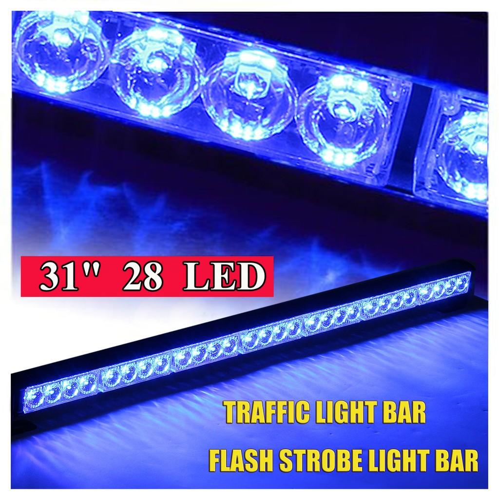 "31/"" 28 LED Car Red /& White Emergency Warning Traffic Flashing Strobe Light Bar"