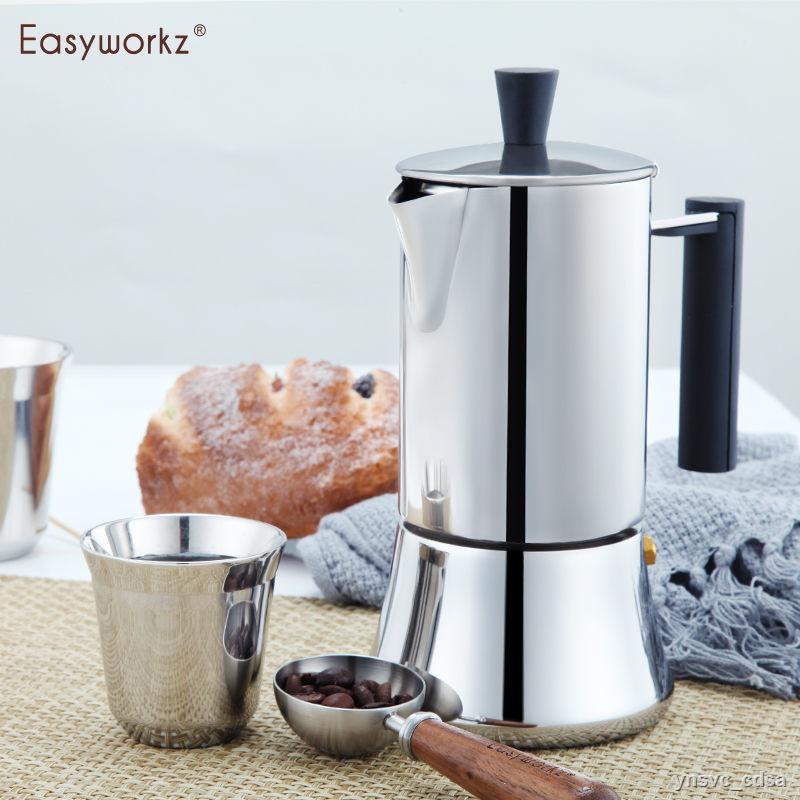 ஐ❉Easyworkz Moka pot หม้อกาแฟสแตนเลสในครัวเรือนของอิตาลี, เตาแม่เหล็กไฟฟ้า, เครื่องทำกาแฟเอสเพรสโซ่