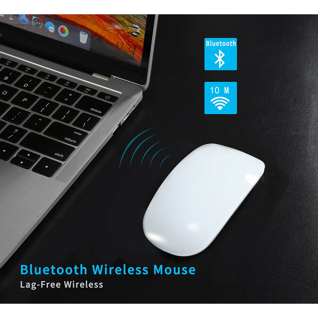 Bluetooth Rechargeable Wireless Silent Quiet Mouse Portable Mini Travel WHITE