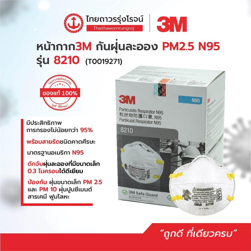 ☇●✔3M หน้ากากกันฝุ่น คาดศรีษะ VFLEX N95 รุ่น  9105, 8210, 8210V, 9001 คุณภาพสูง