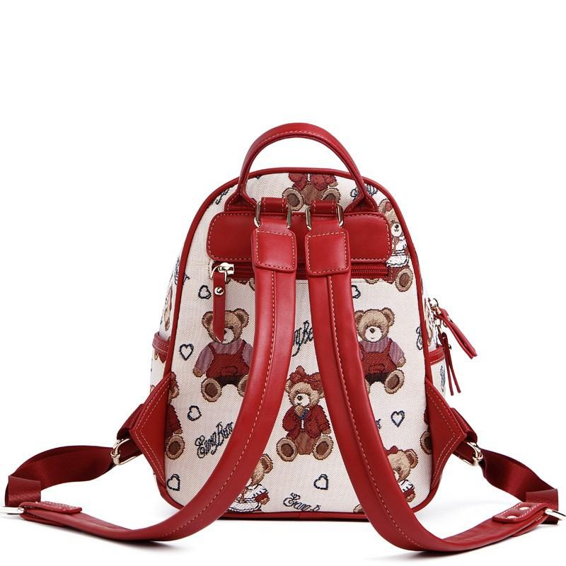backpack กระเป๋าเป้หมีกระเป๋าเป้หญิง canvas ใบเล็กกันขโมยน่ารักหมีพู 9.7 นิ้ว ipad เกาหลี กระเป๋าเดินทาง