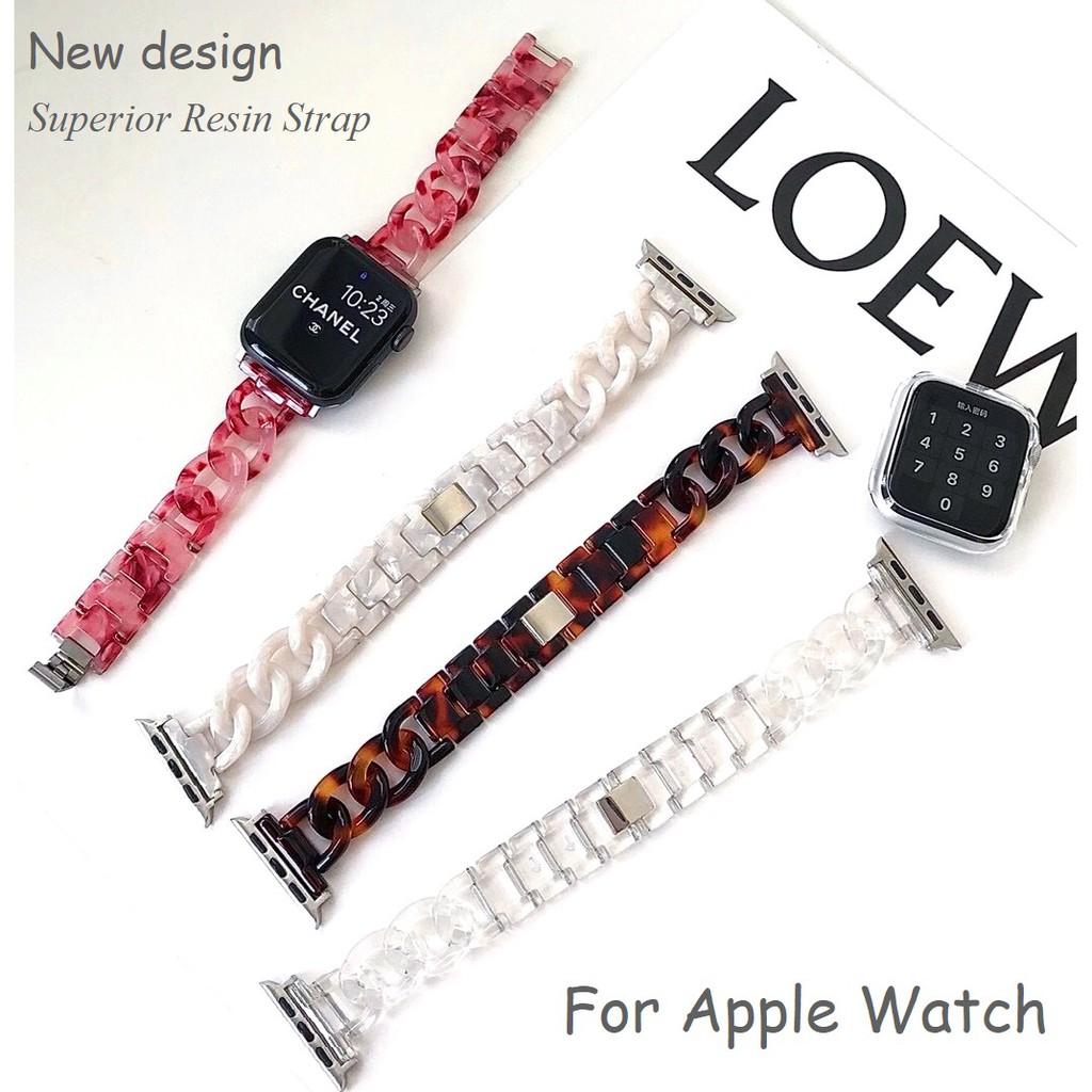 ใหม่ สายนาฬิกา Apple Watch Resin Straps เรซิน สาย Applewatch Series 6 5 4 3 2 1, Apple Watch SE Stainless Steel สายนาฬิก