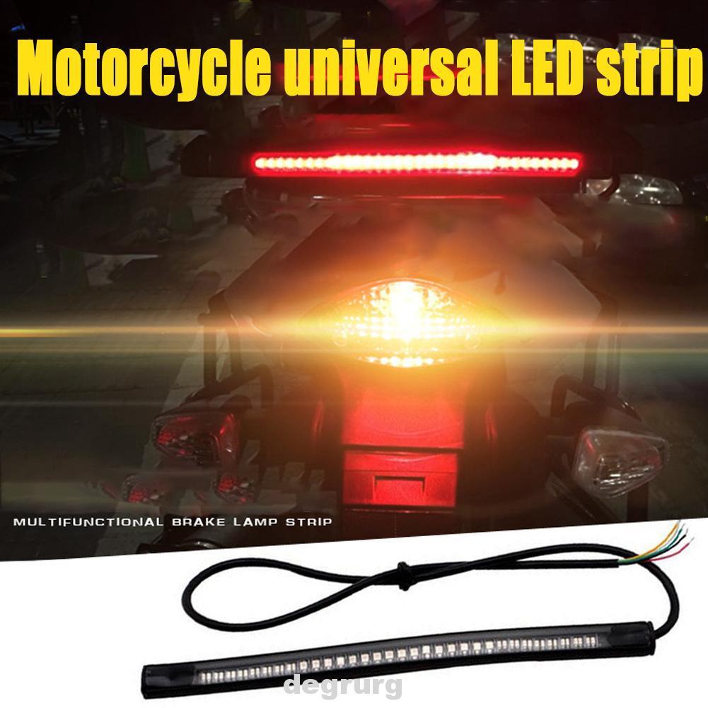 White,2 pcs, 4.5 inch Third Brake Light License Plate Tail Brake Stop Turn Signal Running Lights Bright 6 SMD Strip Light Universal Motorcycle LED Light Flexible Strip